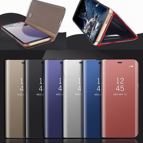 Luxury Mirror Flip Clear View Smart Case Cover - Gadget Canada
