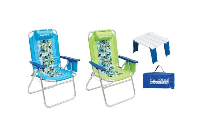 Enjoyable Margaritaville Big Shot 4 Position Aluminum Beach Chairs 2 Pack Beach Folding Side Table Home Interior And Landscaping Ferensignezvosmurscom
