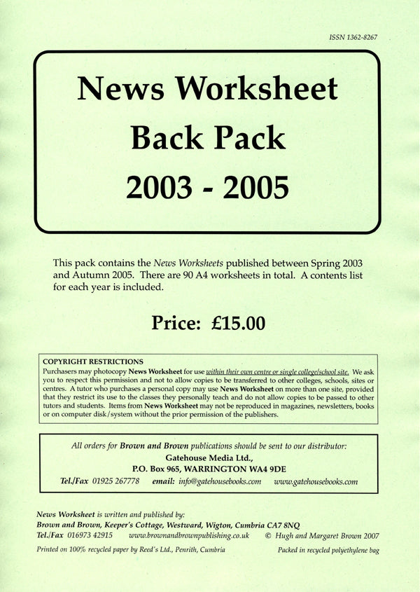 News Worksheet 2003-05 Back Pack