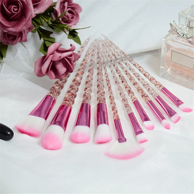10pcs Unicorn Women Beauty Glitter Make Up Brush Tools