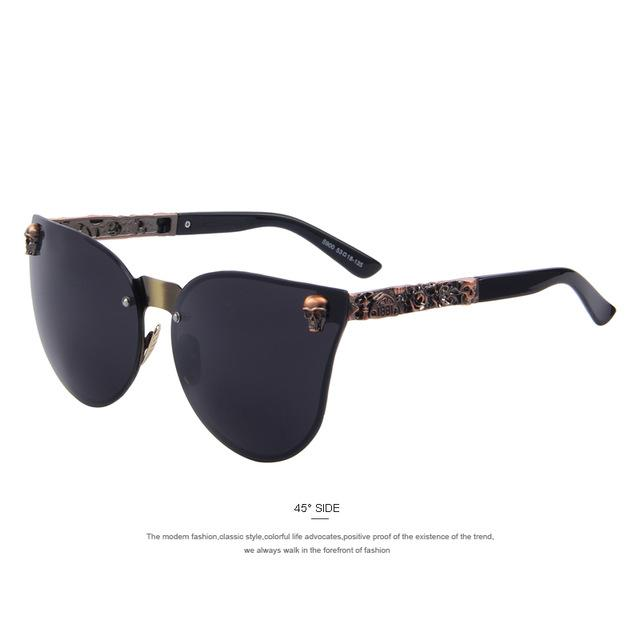 Retro Goth Skull Frame Sunglasses Eyewear Supply and Vibe C04 Brown Black