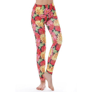 Women's Fitness Leggings - High Waist - Unique & Fun Fashion! Leggings Supply and Vibe Flower Leggings One Size