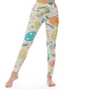 Women's Fitness Leggings - High Waist - Unique & Fun Fashion! Leggings Supply and Vibe Decorative Eggs Leggings One Size