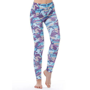Women's Fitness Leggings - High Waist - Unique & Fun Fashion! Leggings Supply and Vibe Purple Camo Leggings One Size
