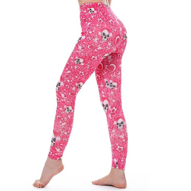 Women's Fitness Leggings - High Waist - Unique & Fun Fashion! Leggings Supply and Vibe Pink Skull Leggings One Size