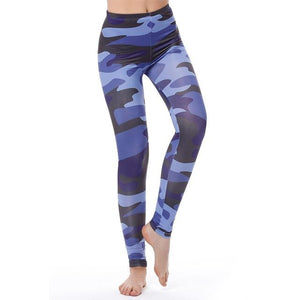 Women's Fitness Leggings - High Waist - Unique & Fun Fashion! Leggings Supply and Vibe Blue Camo Leggings One Size
