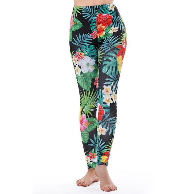 Women's Fitness Leggings - High Waist - Unique & Fun Fashion! Leggings Supply and Vibe Tropical Leggings One Size