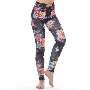 Women's Fitness Leggings - High Waist - Unique & Fun Fashion! Leggings Supply and Vibe Flowers Black Leggings One Size