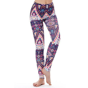 Women's Fitness Leggings - High Waist - Unique & Fun Fashion! Leggings Supply and Vibe Purple Aztec Leggings One Size