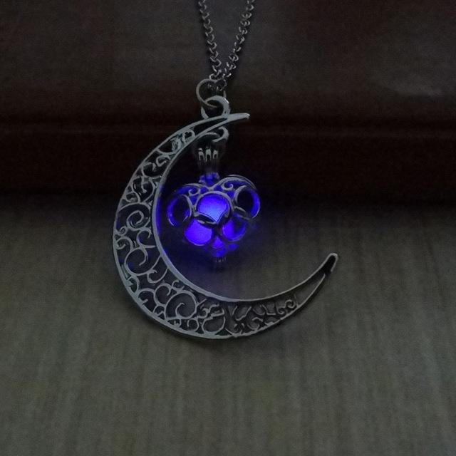 Glow In The Dark Hollow Moon & Heart Necklace Necklace Supply and Vibe Purple
