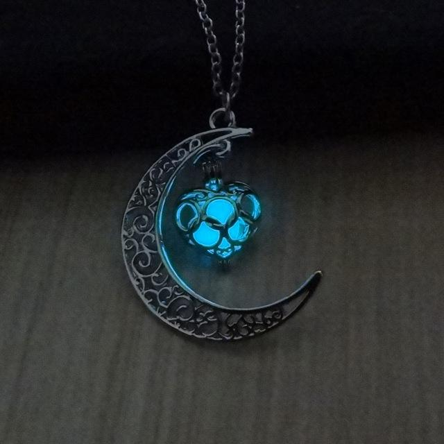 Glow In The Dark Hollow Moon & Heart Necklace Necklace Supply and Vibe Light Blue
