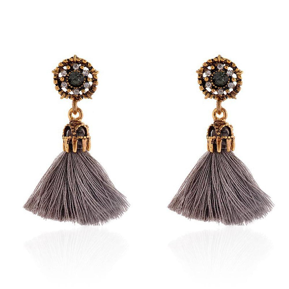 Vintage Style Tassel Earrings ***Free USA Shipping*** Red-Beige-Black-Grey Earrings Supply and Vibe Grey United States