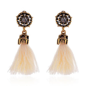 Vintage Style Tassel Earrings ***Free USA Shipping*** Red-Beige-Black-Grey Earrings Supply and Vibe Beige United States