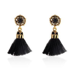Vintage Style Tassel Earrings ***Free USA Shipping*** Red-Beige-Black-Grey Earrings Supply and Vibe Black United States