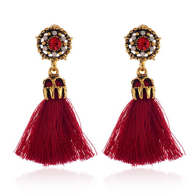 Vintage Style Tassel Earrings ***Free USA Shipping*** Red-Beige-Black-Grey Earrings Supply and Vibe Red United States