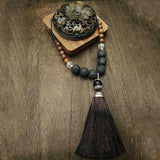 Handmade Vintage Lava Stone Tassel Meditation Necklace Necklace Supply and Vibe Black