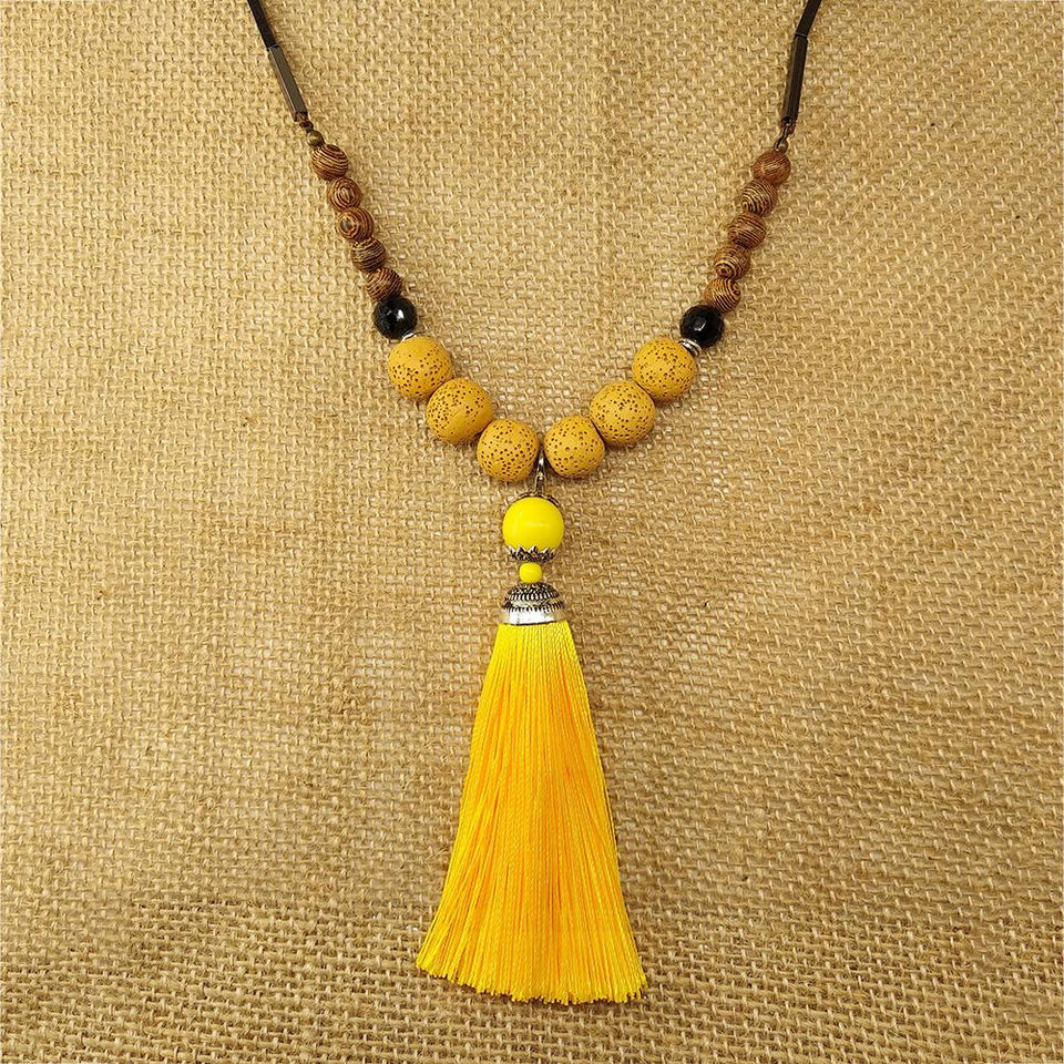 Handmade Vintage Lava Stone Tassel Meditation Necklace Necklace Supply and Vibe