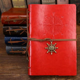 Classy Vintage Spiral Journal - World Traveler - PU Leather Journal Supply and Vibe Red Large 165x235mm