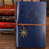 Classy Vintage Spiral Journal - World Traveler - PU Leather Journal Supply and Vibe Blue Large 165x235mm