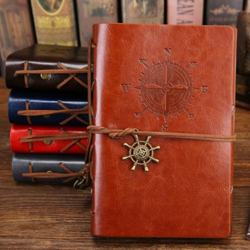 Classy Vintage Spiral Journal - World Traveler - PU Leather Journal Supply and Vibe Brown Large 165x235mm