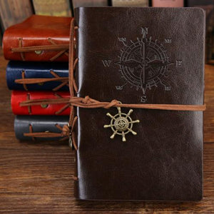 Classy Vintage Spiral Journal - World Traveler - PU Leather Journal Supply and Vibe Coffee Large 165x235mm