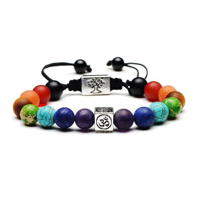 Natural Stone Chakra Charm Bracelet Bracelet Supply and Vibe Silver