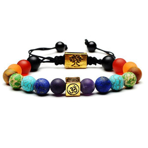 Natural Stone Chakra Charm Bracelet Bracelet Supply and Vibe Gold
