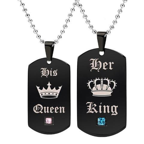 Her King His Queen Couples Necklace Set Necklace Supply and Vibe