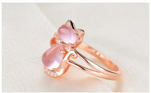 Pink Quartz Crystal Rose Gold Plated Rhinestone Cat Ring-Earrings-Necklace Bundle - Get 33% OFF Jewelry Supply and Vibe