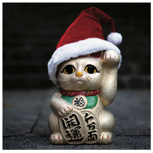 Lucky Cat Christmas Card Pack of SIX