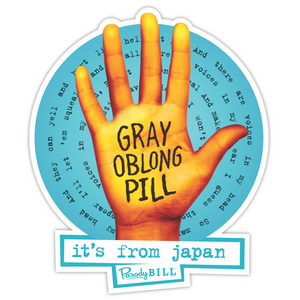 Gray Oblong Pill Die Cut Sticker (NEW)