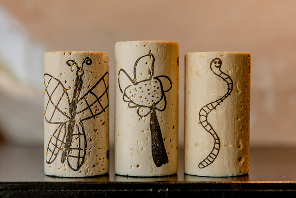 Three Two Wolves wine corks