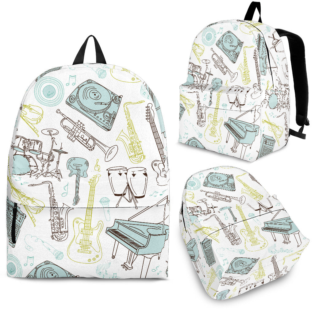 White & Green Music Instruments Printed Backpack for School and Laptops