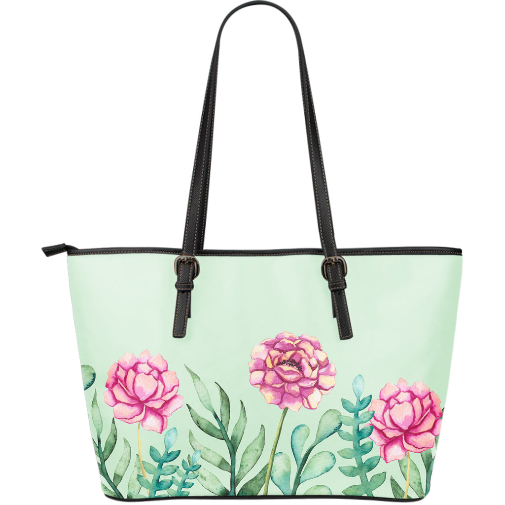 Leather Tote Flowers Mint Green