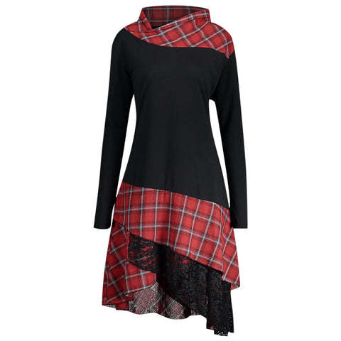 Stand Collar Long Sleeve Plaid Spliced Lace Plus Size Women Dress