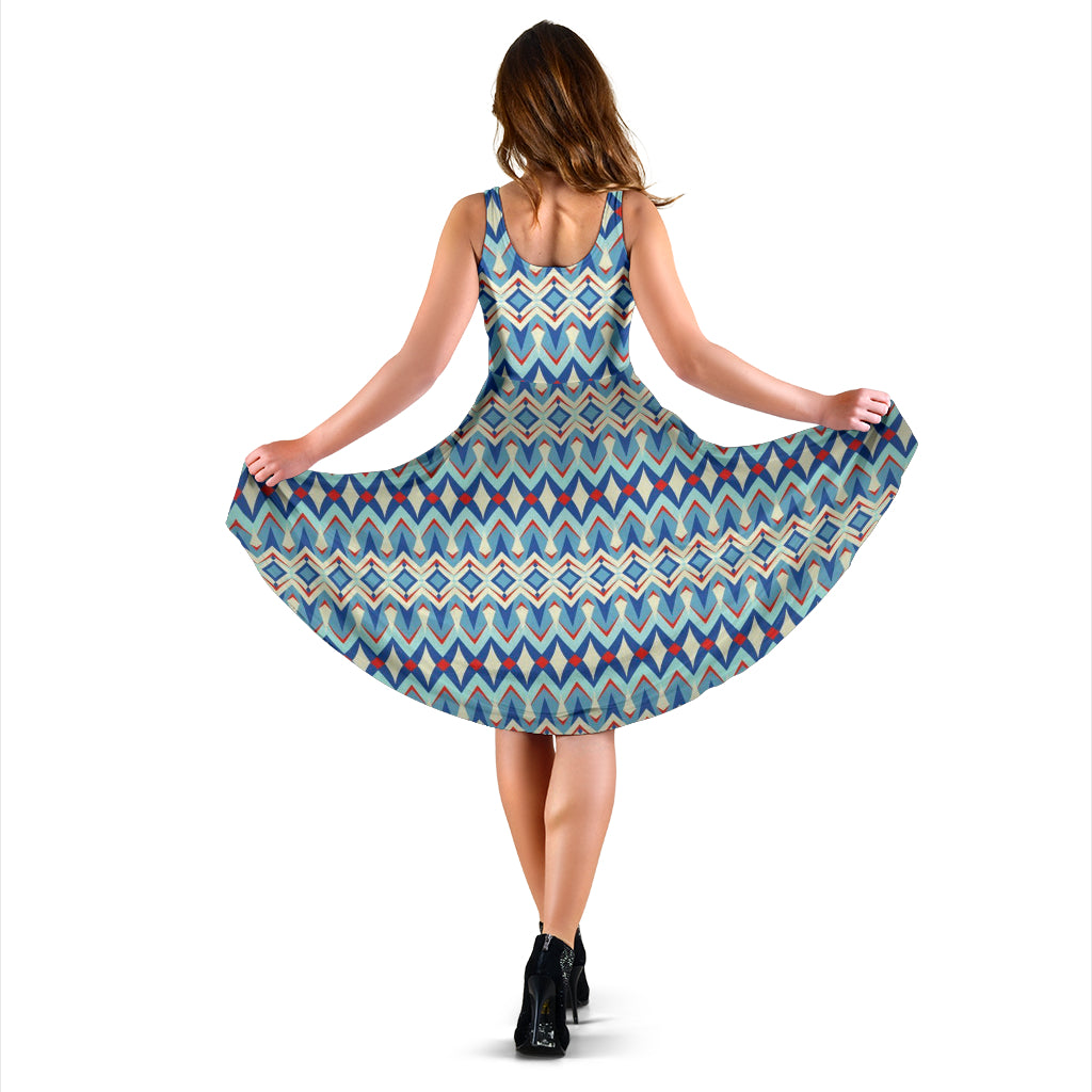 Casual Knee Length Printed Dress, Sleeveless Blue Daze Print Design