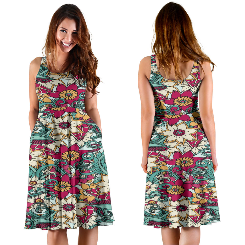 Casual Knee Length Floral Printed Dress, Sleeveless Frock Style Dress