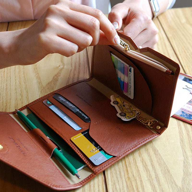 Travel Passport Case Foldable Credit Card Holder Money Wallet ID Multifunction Documents
