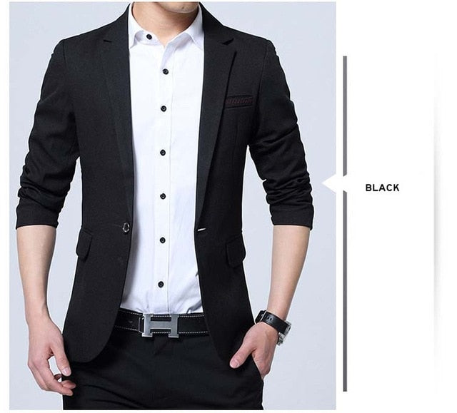 Mwxsd brand Men's casual slim fit Blazer jacket | black suit hombre blazer