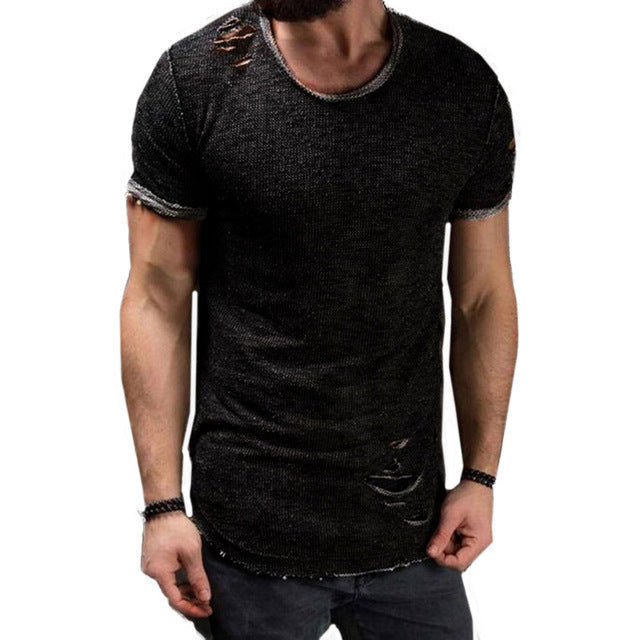 Hole Ripped t shirt Men Short Sleeve t-shirt Fitness Men's Funny Black tshirt Hip Hop streetwear Plus Size Slim Tops Men 4xl