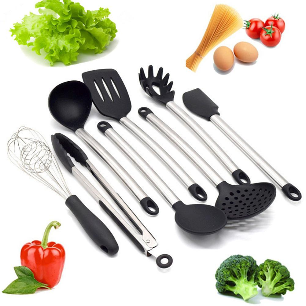 8pcs Kitchen Utensil Set Silicone and Stainless Steel