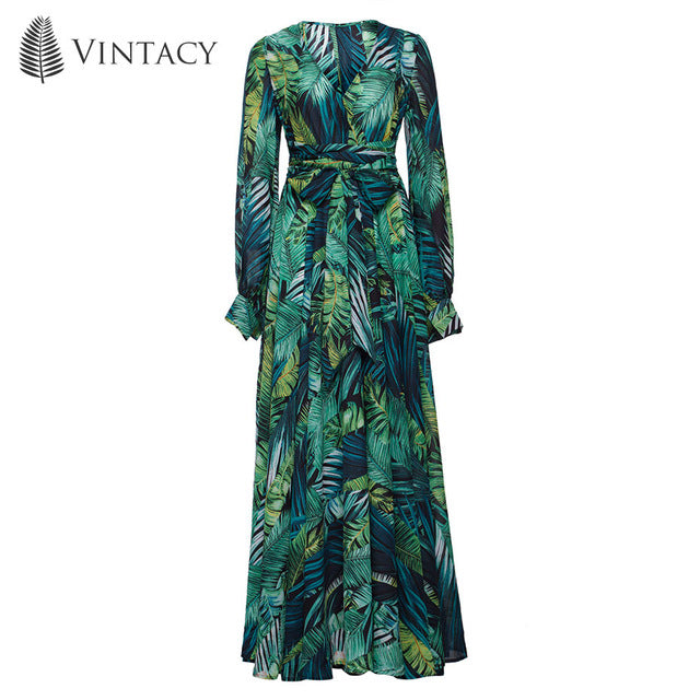 Long Sleeve Green Tropical Beach Vintage look Maxi Dresses Casual V Neck Belt Lace Up Tunic Draped Dress