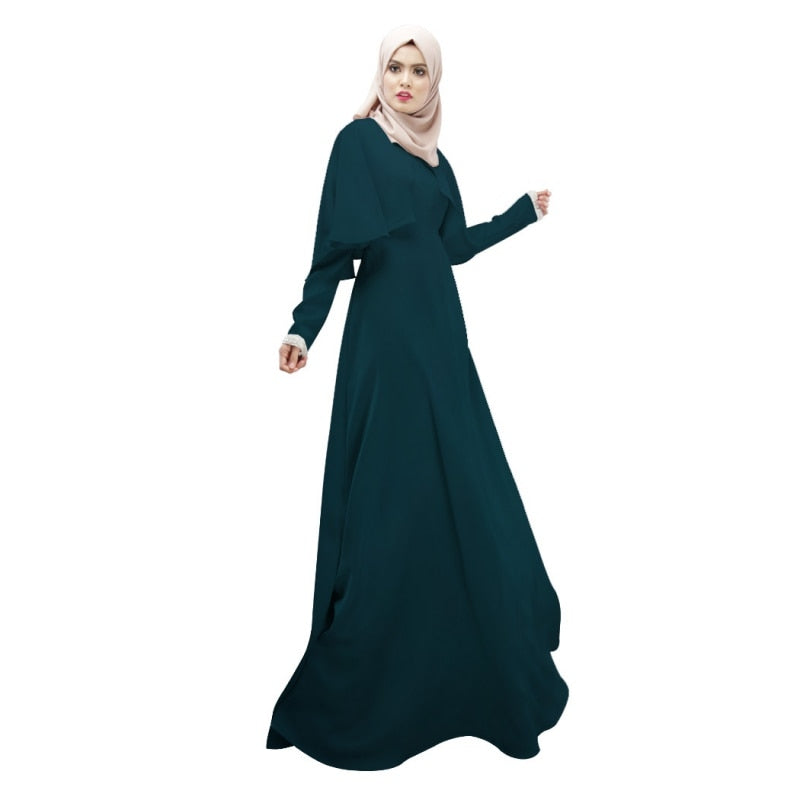 Abaya Islamic Hijab Dresses Long Butterfly Sleeve Elegant Cloak Kaftan Casual Loose Floor-Length O-Neck Dresses