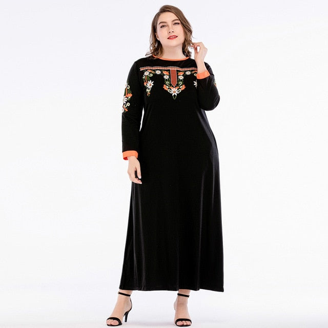 Embroidery Women Maxi Dress Abaya Knitting Cotton Long Sleeve Black available in Plus Size