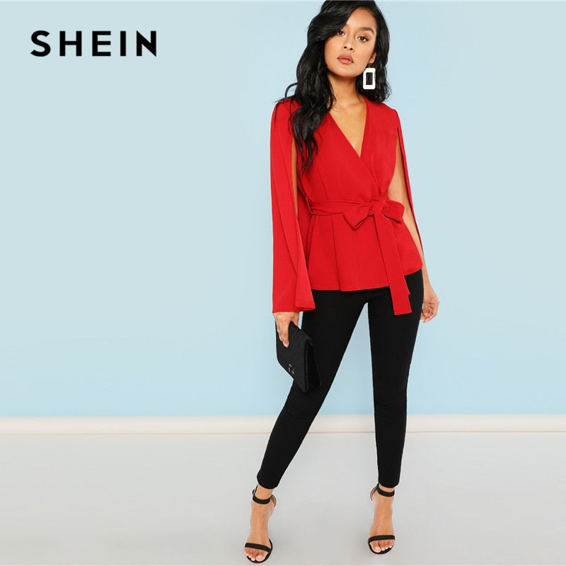 SHEIN Red Elegant Office Lady Open Placket Deep V Neck Cloak Sleeve Solid Blazer 2018 Autumn Highstreet Women Coat Outerwear