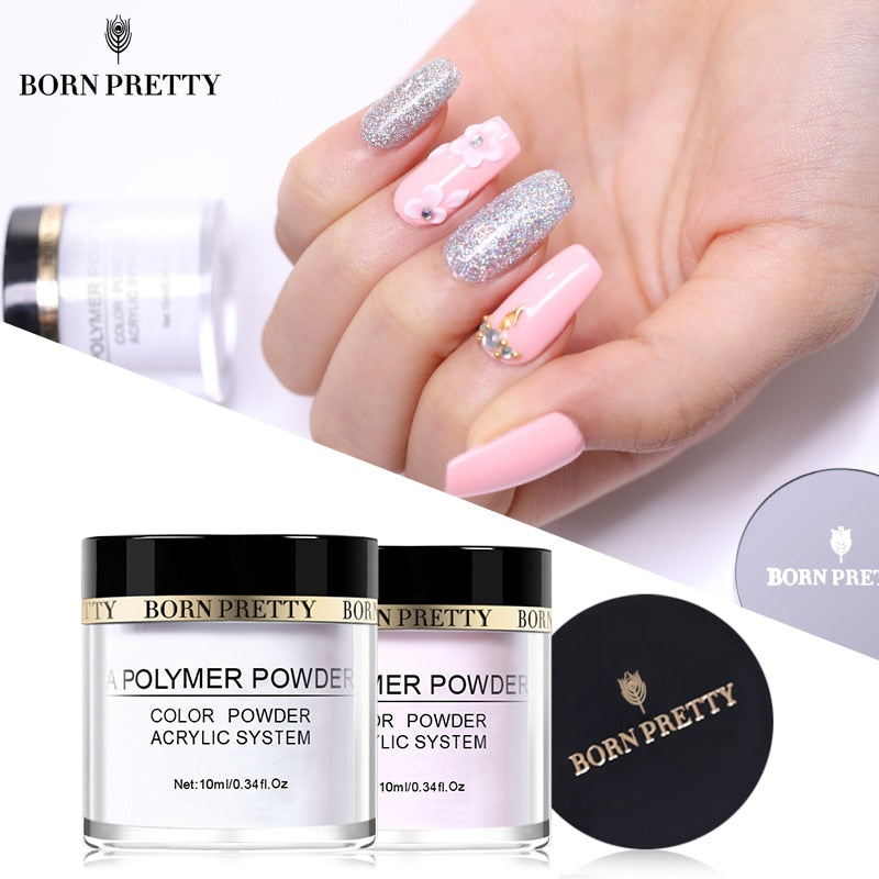 BORN PRETTY Pink White Clear Acrylic Powder 10ml Tip Extension French Nail Polymer Powder Acrylic Brush Crystal Glass Container