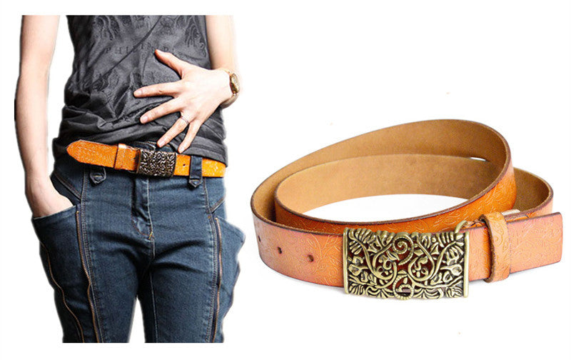 Vintage Women Leather Belt Hollow Out Buckle Flower Print Emboss Waist Strap Waistband Khaki