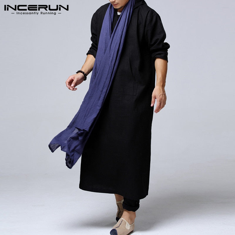 Mens Long Kurta Cotton Indian Ethnic Wear with Hoodie