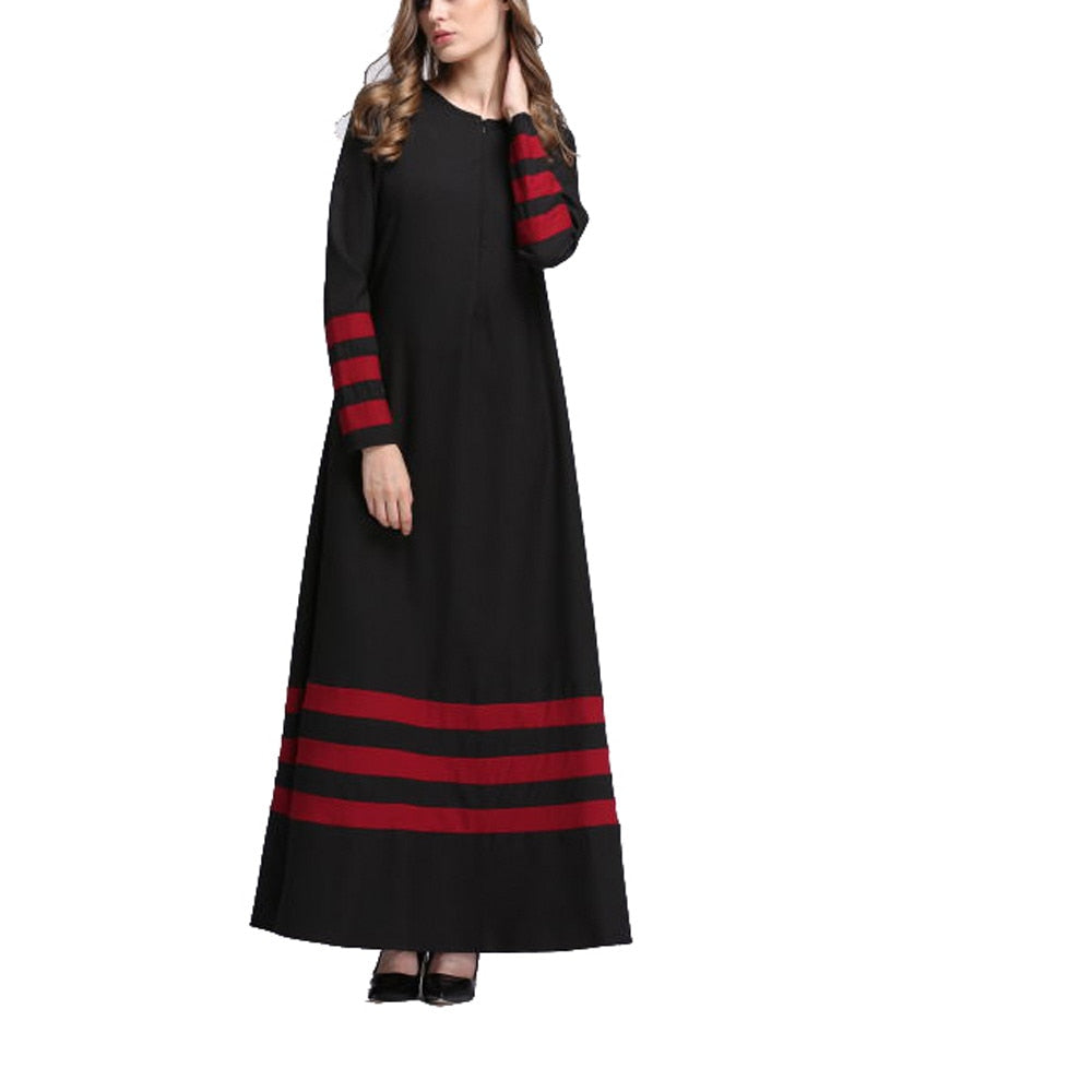Women long Dress Abaya style Pure Color Stripe Embroidery full sleeve