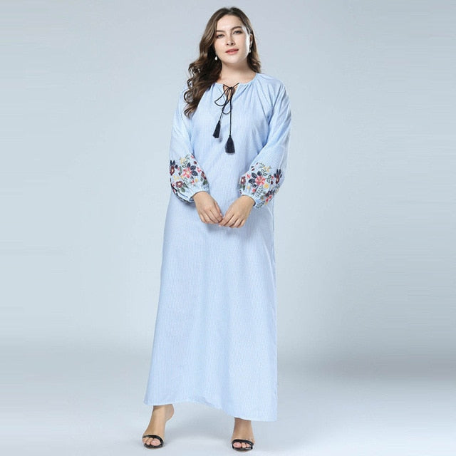 New style Fashion Striped Long Dresses Embroidery Long Sleeve Rope Collar available in plus size